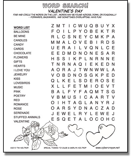 Cybercrayon Word Search Valentines Day