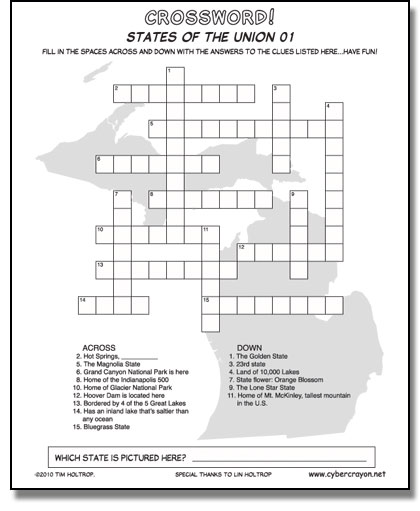 Preview of Crossword - States of the Union 01