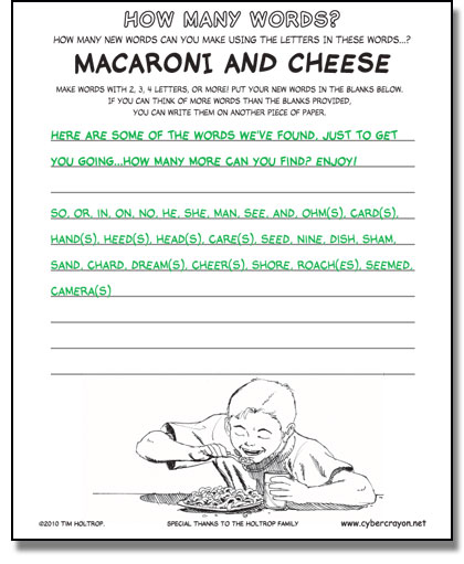 Preview of answers to How Many Words - Macaroni and Cheese
