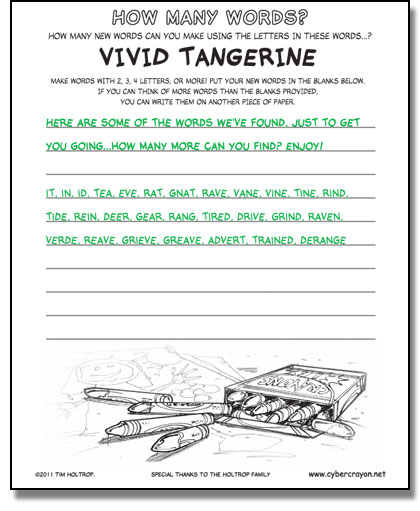 Preview of answers to How Many Words - Vivid Tangerine