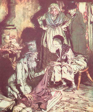 illustration by arthur rackham from the charles dickens classic a christmas carol